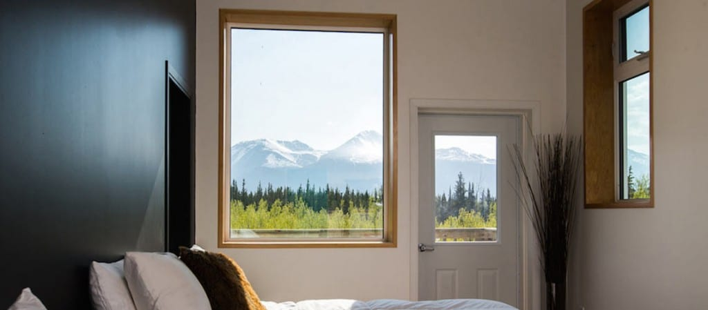 View from inside your accommodation in the Yukon, Yukon is more than just trails