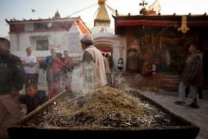 Burning incense in Kathmandu