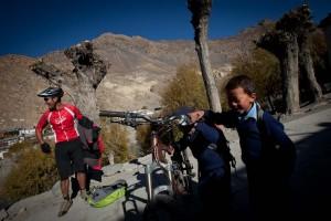 Entertaining the locals, mountain biking in Nepal