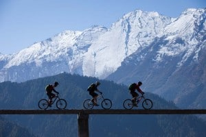 Mountain biking in the Himalayas of Nepal