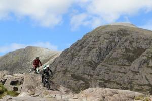 Riding big rocks in Torridon, Scotland
