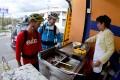 Enjoying street food in Ecuador