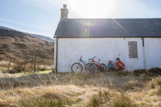 Stopping at a bothy on our coast-to-coast, Scotland mountain bike tour