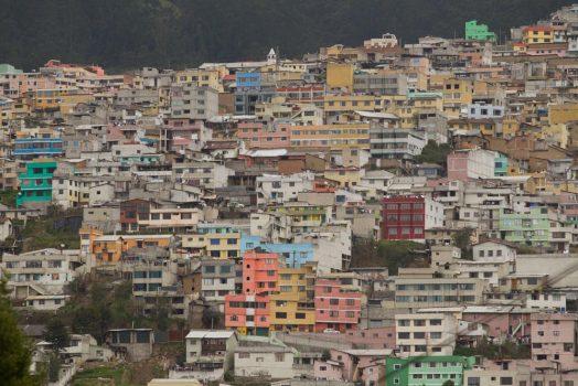 Colourful homes on our mountain bike tour Ecuador