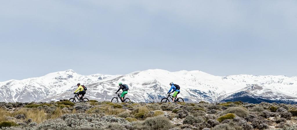 Mountain biking across a ride in southern spain