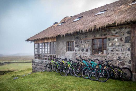 Mountain bikes resting at H+I Adventures overnight hacienda on our mountain bike tour Ecuador