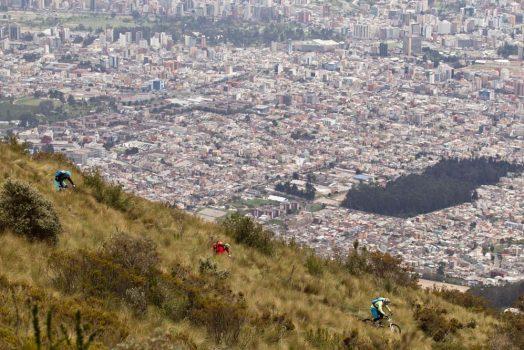Mountain biking in the hills above Quito on our mountain bike tour Ecuador