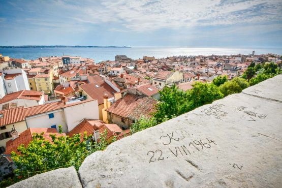 Looking over the rooftops of Piran on our mountain bike tour Slovenia