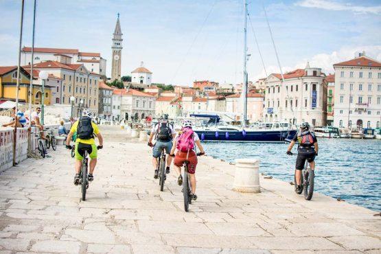 Mountain biking at Piran harbour on our mountain bike tour Slovenia