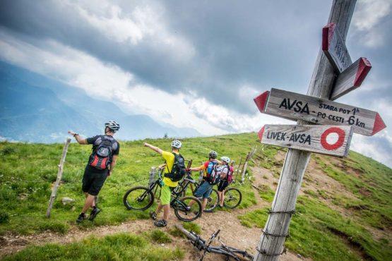 Looking over the border to Austria on our mountain bike tour Slovenia