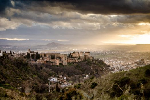 Looking over the Alhambra at sunset on our mountain bike tour Spain