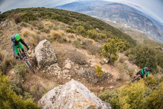 Riding steep tight singletrack on our mountain bike tour Spain