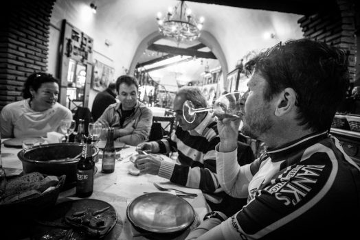 Enjoying dinner in the caves on our mountain bike tour Spain