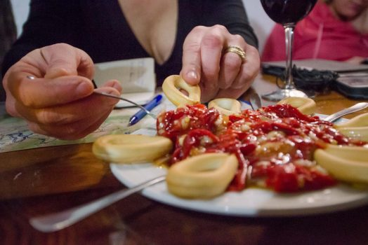 Sampling delicious local food in Andalucía on our mountain bike tour Spain