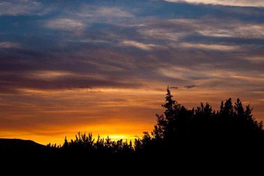 Beautiful sunset on our mountain bike tour Yukon