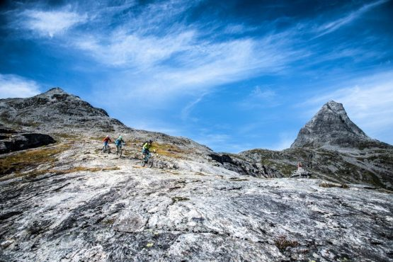 Fun decents and rock riding in Trollstigen on our Fjords of Norway mountain bike tour