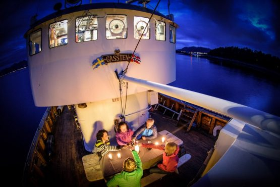 The final evening aboard The Gåssten, on our mountain bike tour of Norway
