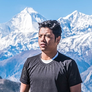 Nepal mountain bike guide RJ at home in the Himalayas