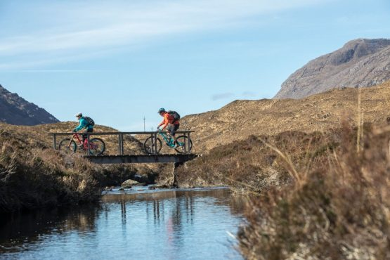 River crossing in the Torridon valley, coast-to-coast Scotland mountain bike tour