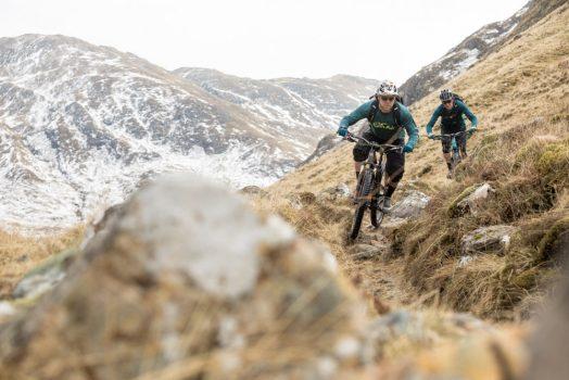 Mountain bikers descending on our mountain bike tour Torridon and Skye.
