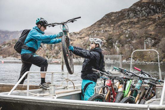 Loading bikes on our mountain bike tour Torridon and Skye