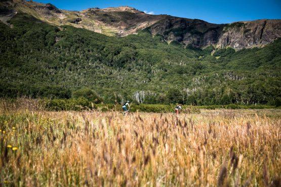 Riding through wild grassland on our mountain bike tour Chile