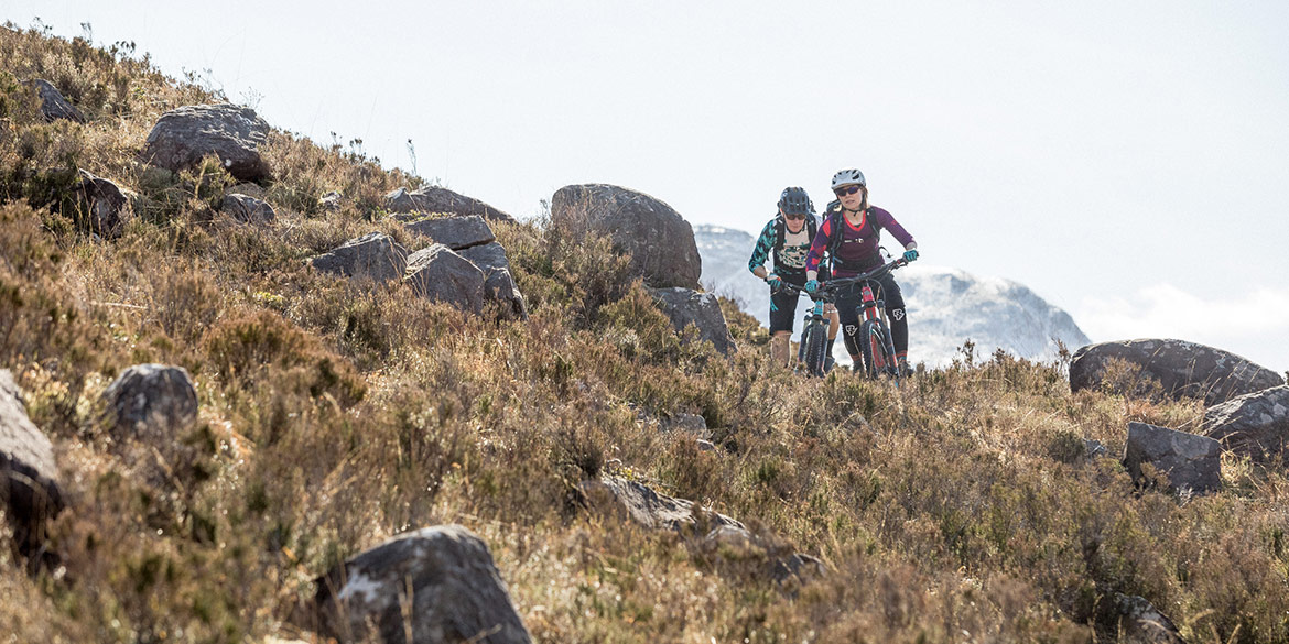 Our coast-to-coast mountain bike tours in Scotland pass through beautiful and rugged wilderness