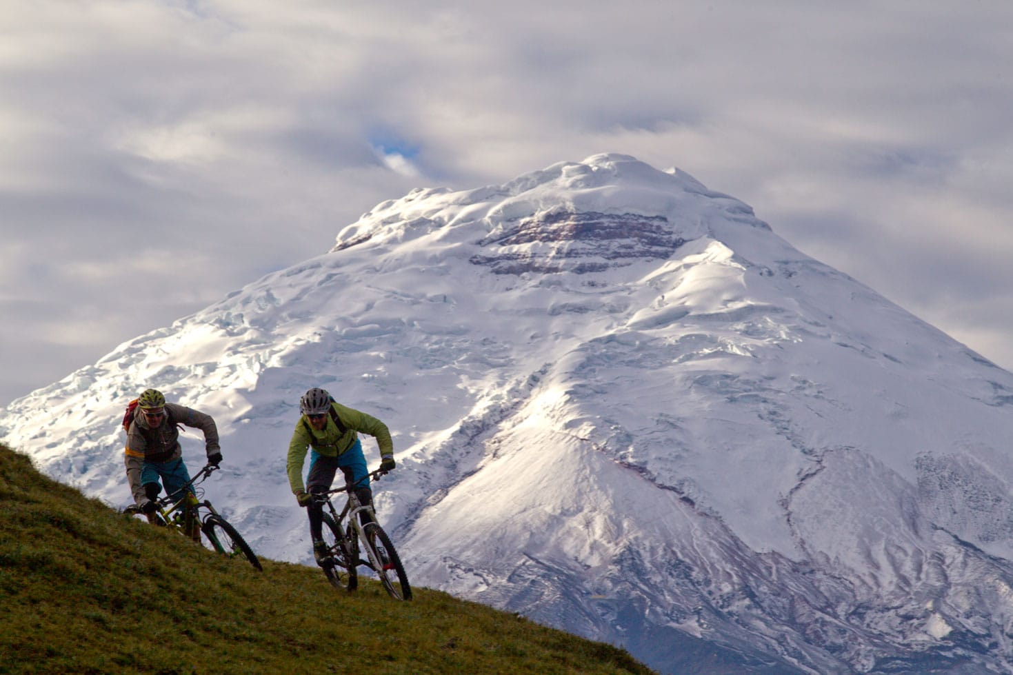 Mountain biking at high altitudes in Ecuador.