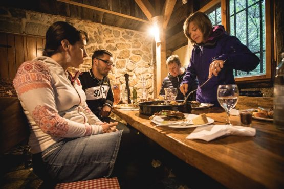 Group dinner, mountain bike tour Croatia