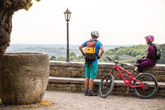 Overlooking the walls of Grožnjan, mountain bike tour Croatia