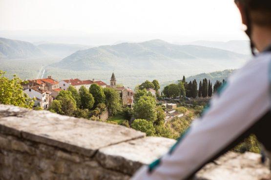 Overlooking the valley from Motovun, mountain bike tour Croatia