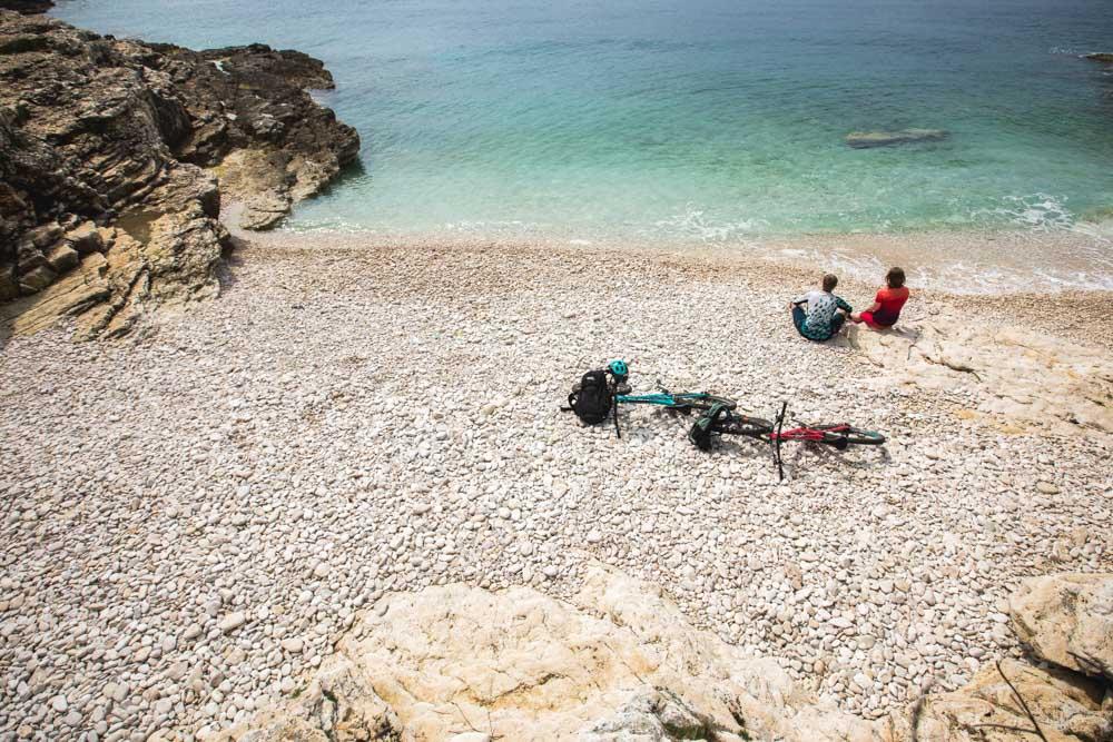 Exploring the Kamenjak peninsula by bike, part of our Croatia Mountain Bike Tour.