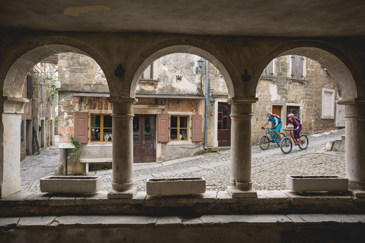 Exploring the cobbled streets of Groznjan as part of our Croatia Mountain Bike Tour.