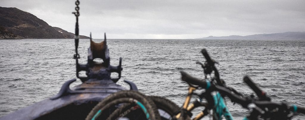 Bikes in the bow of a boat cruising down Loch Nevis, used as part of our photography tutorial.