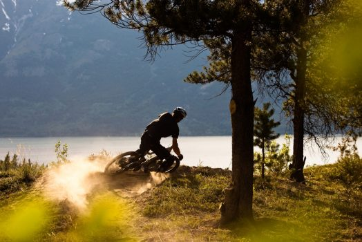 Riding hard into the evening and down to another fantastic meal on our mountain bike tour Yulon