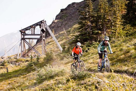 Working hard for the day's descending on our mountain bike tour Yukon