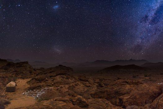 Desert and the Milky Way on mountain bike safari tour Namibia