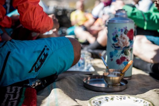 Mountain bike tour Nepal - tea time