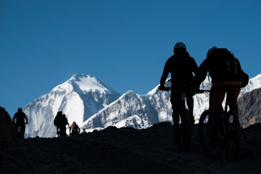 Mountain bike tour Nepal - silhouetted climbs