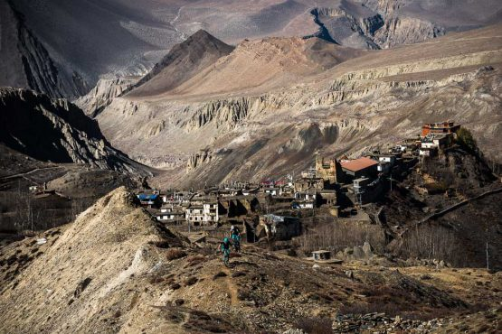 Mountain bike tour Nepal - overlooking villages