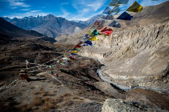 Mountain bike tour Nepal - flags