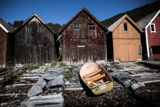 Mountain bike tour Norway - boat sheds