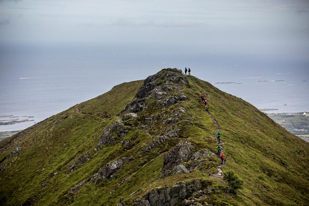 Mountain bikers on a steep hillside in Norway, part of our mountain bike tour Norway.
