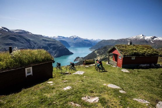 Mountain biker descending Mefjellet during our mountain bike tour Norway. One of our mountain biking adventures in Europe.