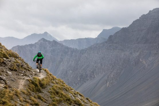 Riding miles of pristine singletrack en-route to Arosa deep in the Swiss Alps, mountain bike tour Switzerland