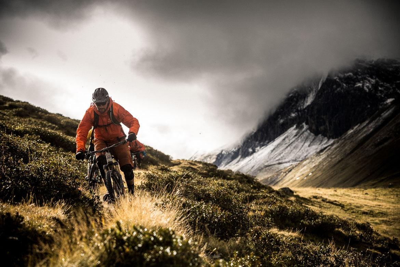 Thomas Vanderham leading the group through the Albula pass into Bever during our mountain bike tour Switzerland.