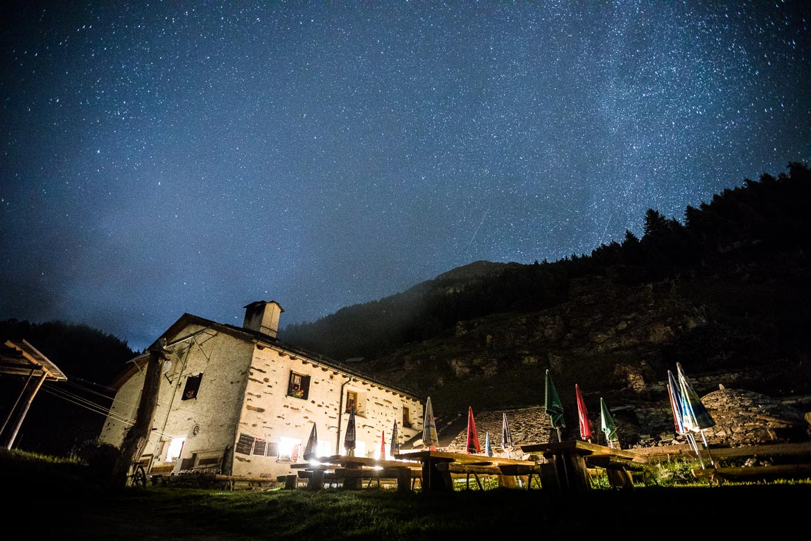 Star gazing from the refuge at San Romero during our mountain bike tour Switzerland. One of our mountain biking adventures in Europe.