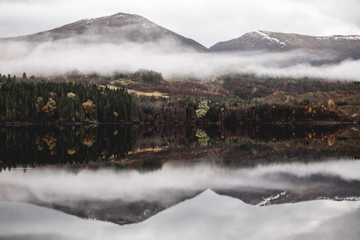 Late autumnal colours on a Scottish loch on the way out west to ride with Joe Barnes and Mac Schumann.