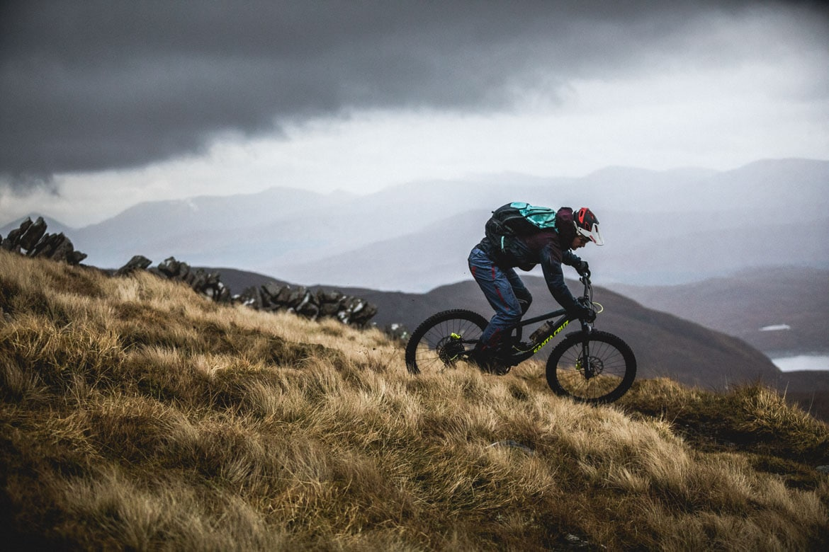 Max Schumann descending under moody skies on a ride out with Joe Barnes.