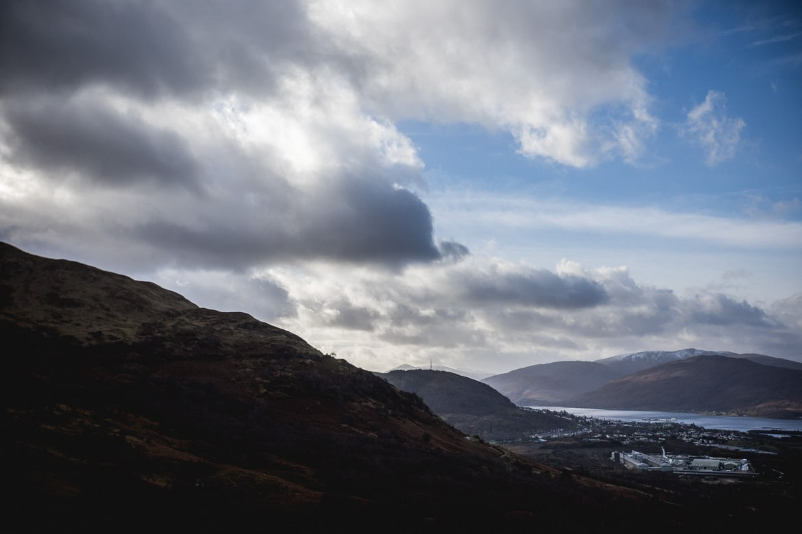 The view over Fort William from the trails of Torlundy.